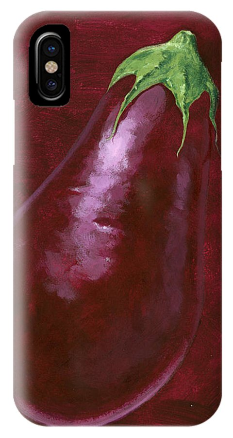 Aubergine IPhone X / XS Case featuring the painting Aubergine by Brian James