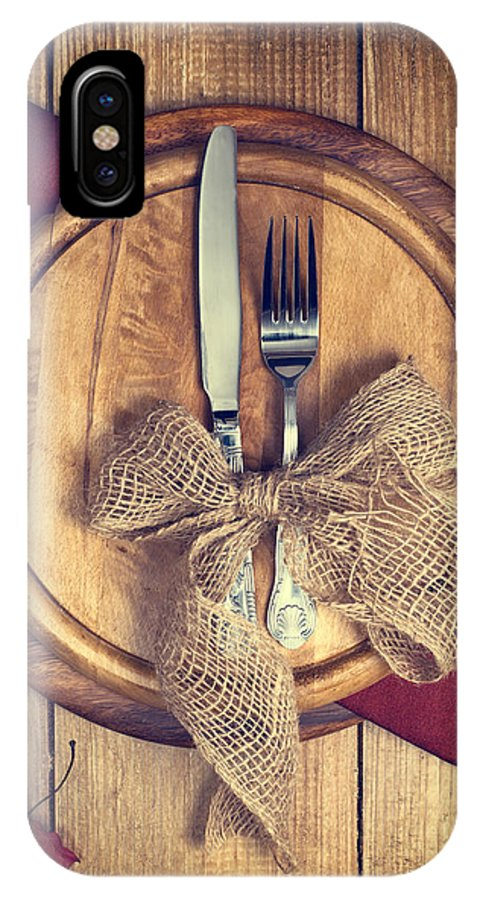 Knife IPhone X Case featuring the photograph Autumn Table Setting by Amanda Elwell