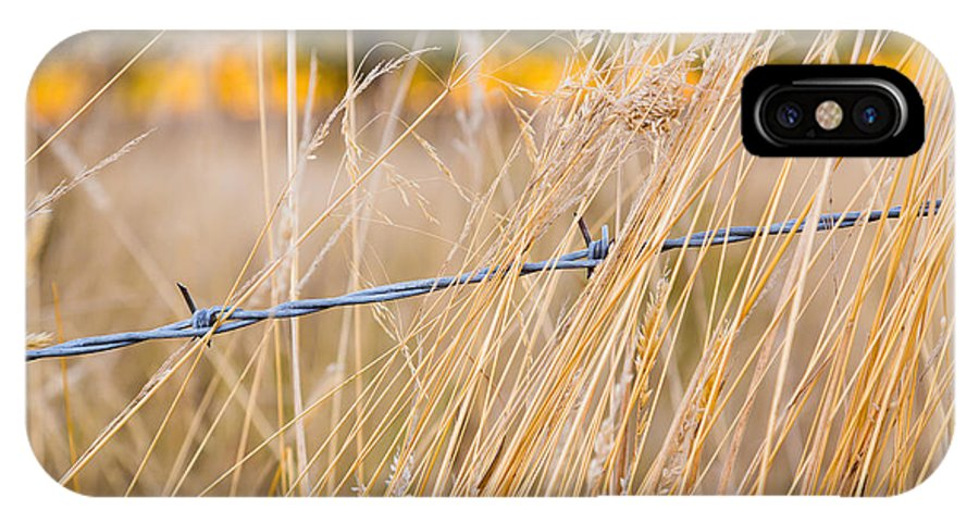Abstract IPhone X Case featuring the photograph Barb Wire Country Fence by Joshua Rainey