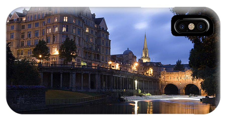 Bath IPhone X Case featuring the photograph Bath City Spa Viewed Over The River Avon At Night by Mal Bray