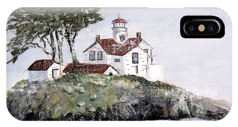 Lighthouse At Crescent City IPhone X Case featuring the painting Battery Point Lighthouse by Lynne Parker