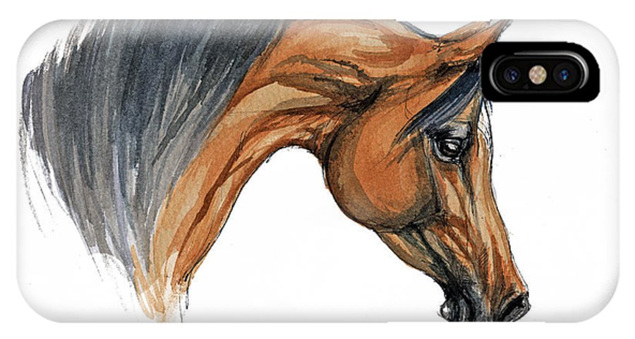 Horse IPhone X Case featuring the painting Bay Arabian Horse Watercolor Painting by Angel Ciesniarska