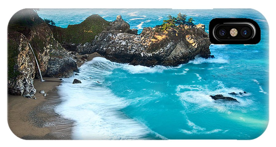 Mcway Falls IPhone X Case featuring the photograph Beautiful Mcway Falls Along The Big Sur Coast. by Jamie Pham
