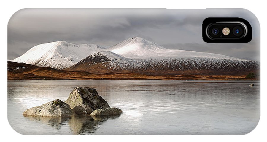 Black Mount IPhone X Case featuring the photograph Black Mount And Lochan Na H-achlaise by Maria Gaellman