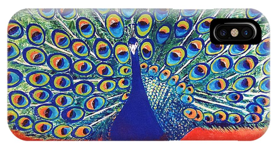 Paintings IPhone X Case featuring the painting Blue Peacock by Jasna Gopic