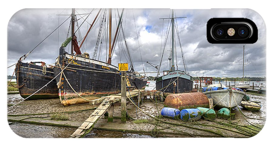 Pin Mill IPhone X Case featuring the photograph Boats On The Hard At Pin Mill by Gary Eason