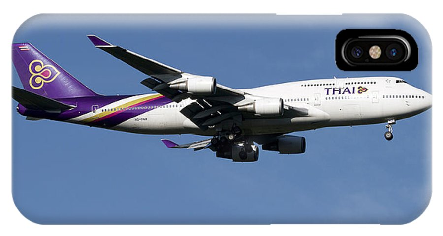 Sky IPhone X Case featuring the photograph Boeing 747-400 Of Thai International by Luca Nicolotti