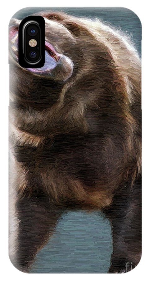 Bear IPhone X Case featuring the painting Brown Bear by Aleksey Tugolukov