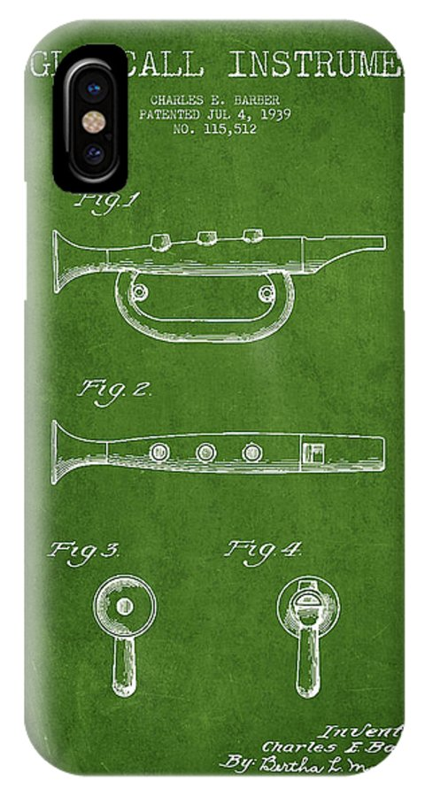 Bugle IPhone X Case featuring the digital art Bugle Call Instrument Patent Drawing From 1939 - Green by Aged Pixel
