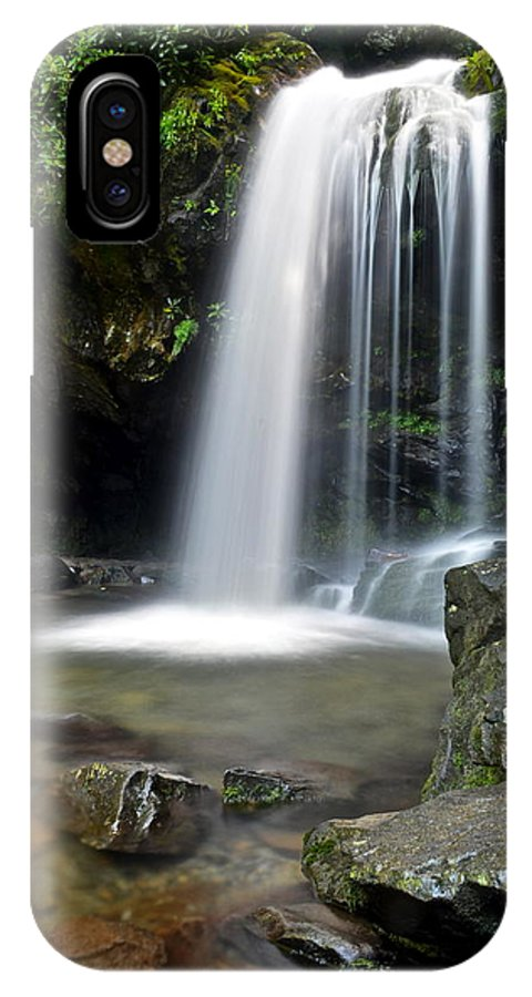 Grotto IPhone X Case featuring the photograph Cascading Falls by Frozen in Time Fine Art Photography