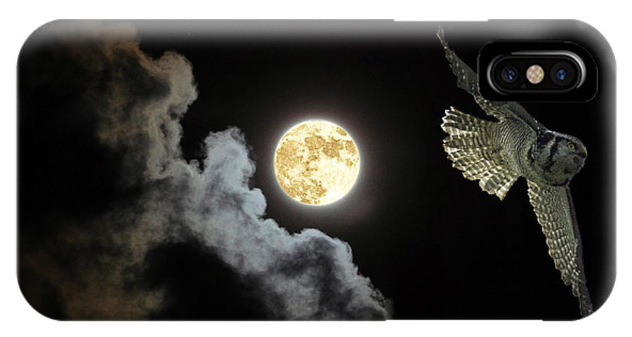 Hawk Owl IPhone X Case featuring the photograph Caught By The Moon by Rob Mclean