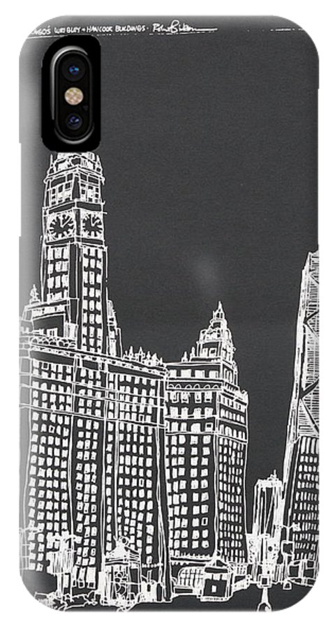 Chicago's Wrigley And Hancock Buildings On Michigan Ave. IPhone X Case featuring the drawing Chicago Wrigley And Hancock Buildings by Robert Birkenes