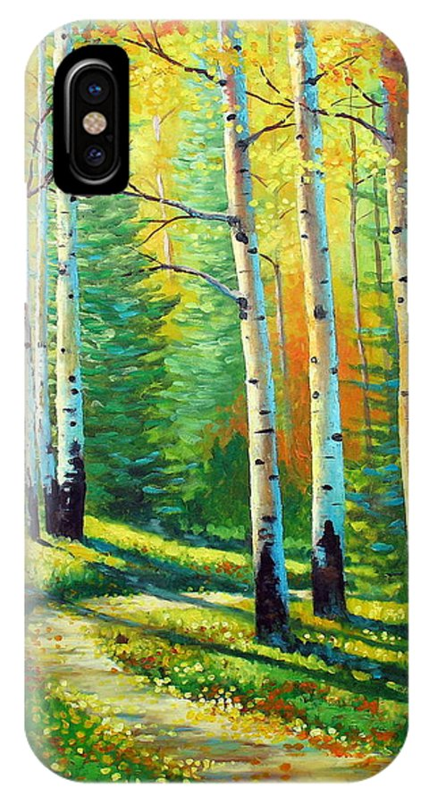 Landscape IPhone X Case featuring the painting Colors Of The Season by David G Paul