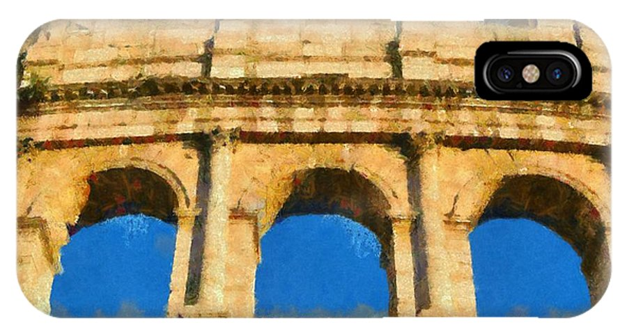 Colosseum IPhone X Case featuring the painting Colosseum In Rome Under Late Afternoon Light by George Atsametakis