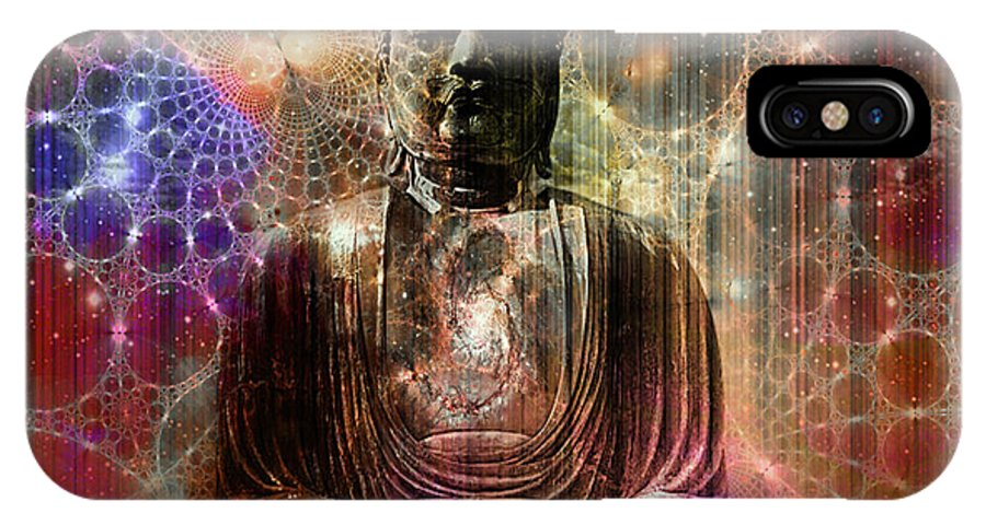 Buddha IPhone X Case featuring the digital art Cosmic Buddha by Mynzah Osiris