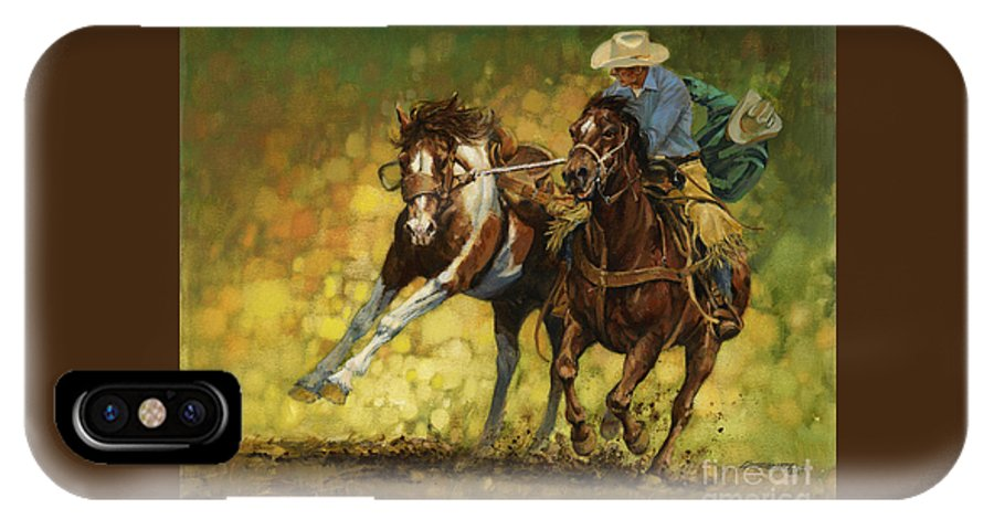 Don Langeneckert IPhone X Case featuring the painting Rodeo Pickup by Don Langeneckert