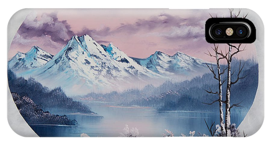 Landscape IPhone X Case featuring the painting Crimson Frost Oval by Chris Steele
