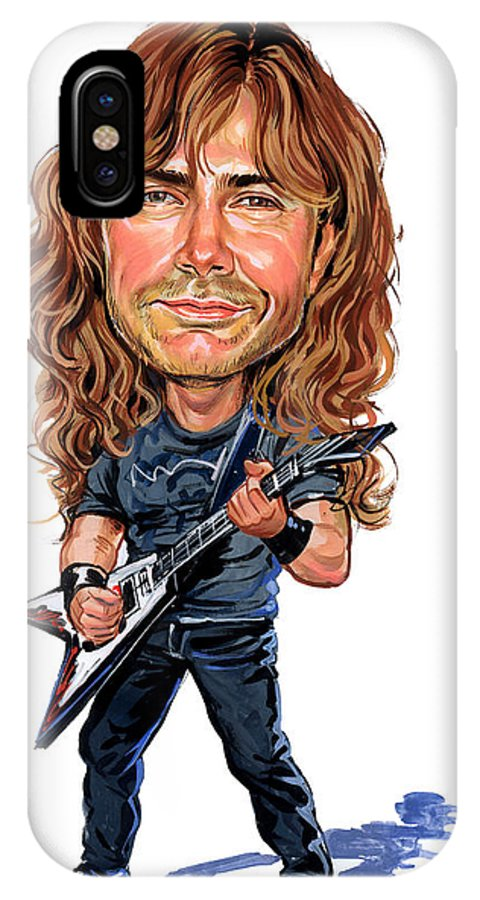 Dave Mustaine IPhone X Case featuring the painting Dave Mustaine by Art