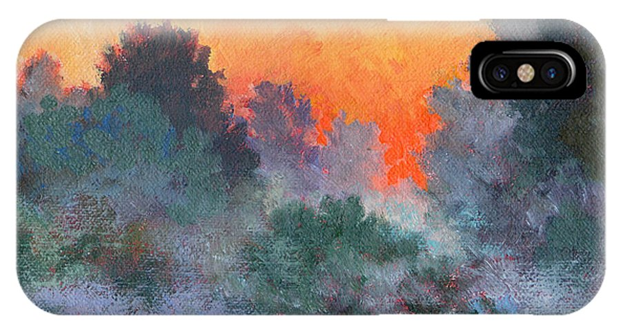Impressionism IPhone X Case featuring the painting Dawn Mist by Keith Burgess