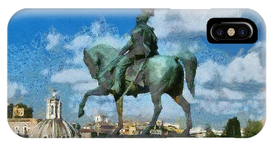 Rome IPhone X Case featuring the painting Details From Vittorio Emanuele Monument In Rome by George Atsametakis