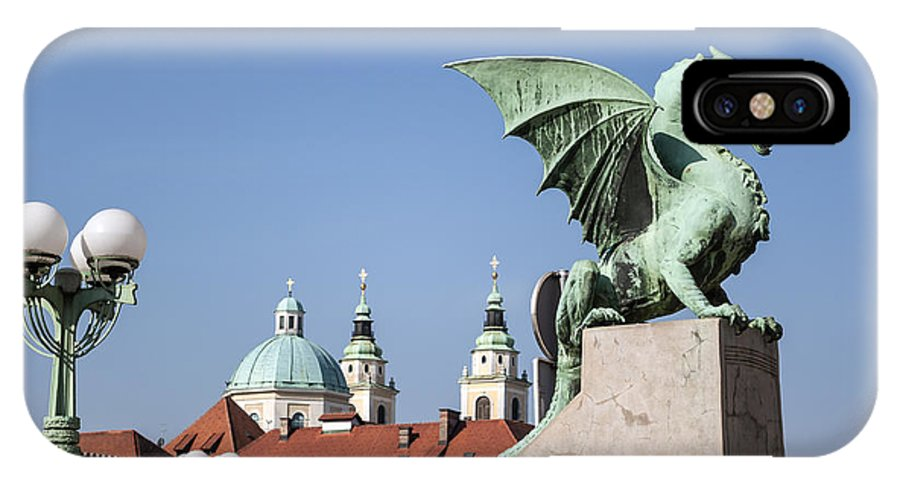 Dragon IPhone X Case featuring the photograph Dragon Bridge. Ljubljana. by Fernando Barozza
