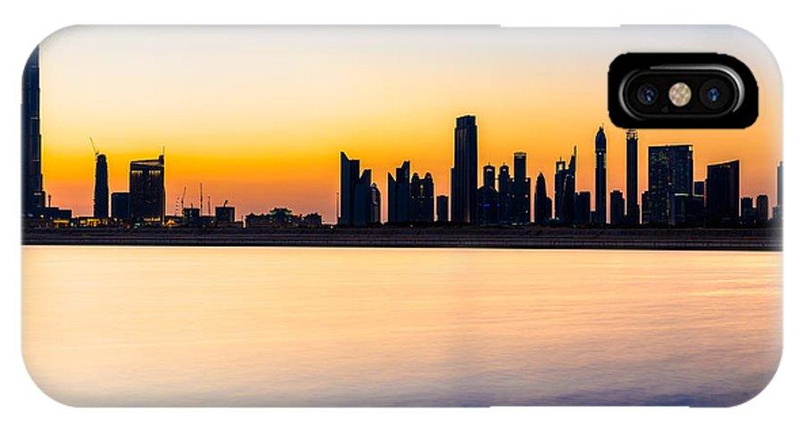 Dubai IPhone X Case featuring the photograph Dubai Skyline At Dusk by Luciano Mortula