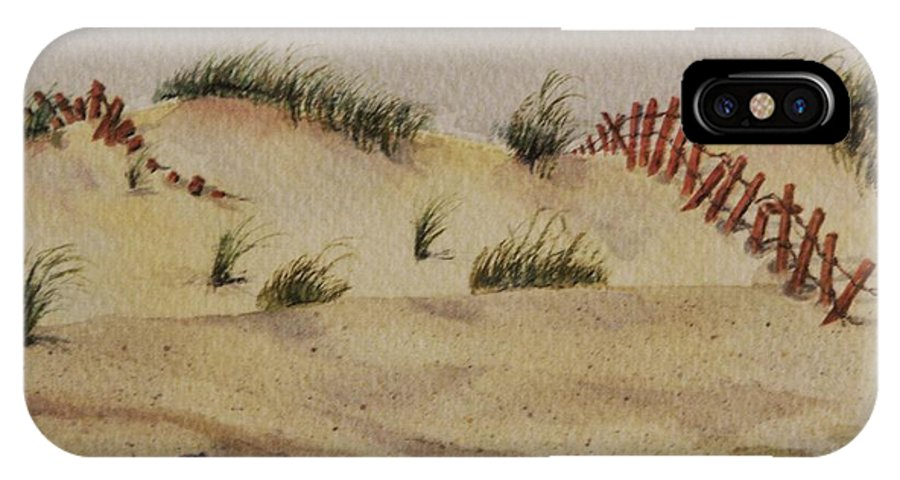Sand IPhone X Case featuring the painting Dunes by Mary Ellen Mueller Legault