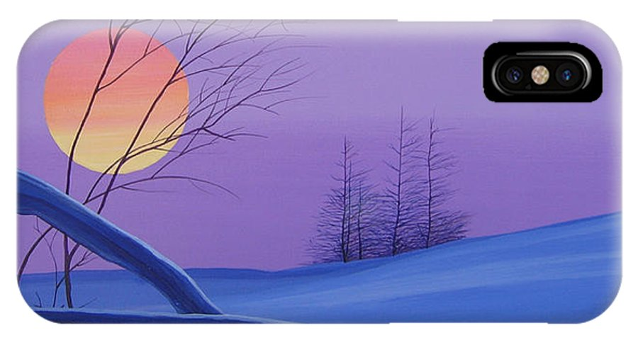 Mountains IPhone X Case featuring the painting Silent Snow by Hunter Jay