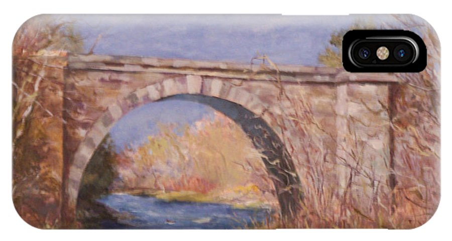 Rail Road IPhone X Case featuring the painting Early Spring At The Trestle by Alicia Drakiotes