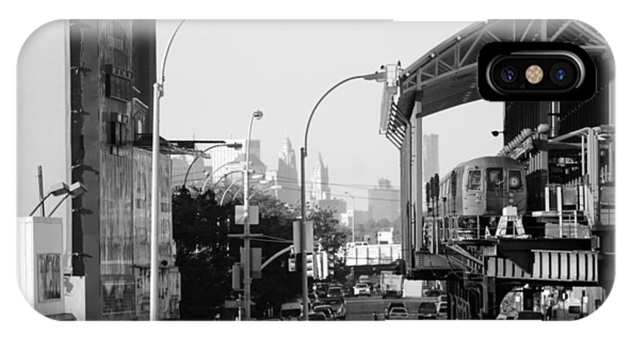 Brooklyn IPhone X Case featuring the photograph End Of The Line In Black And White by Rob Hans