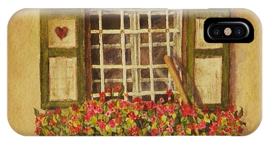 Rural IPhone X Case featuring the painting Farm Window by Mary Ellen Mueller Legault