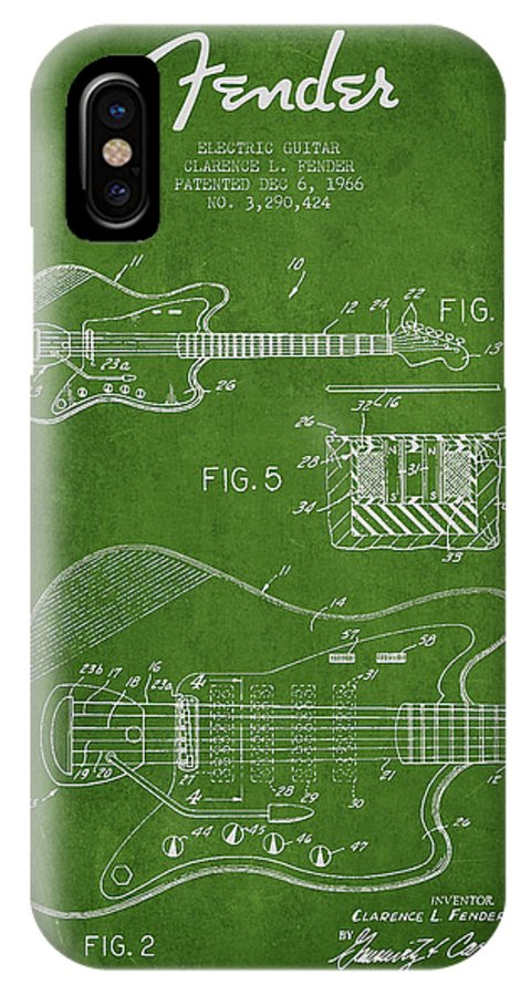 Fender IPhone X Case featuring the digital art Fender Electric Guitar Patent Drawing From 1966 by Aged Pixel