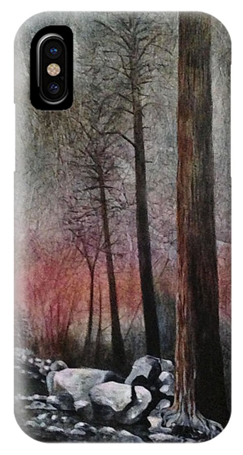 Landscape IPhone X Case featuring the painting Firestorm by Rebecca Myers