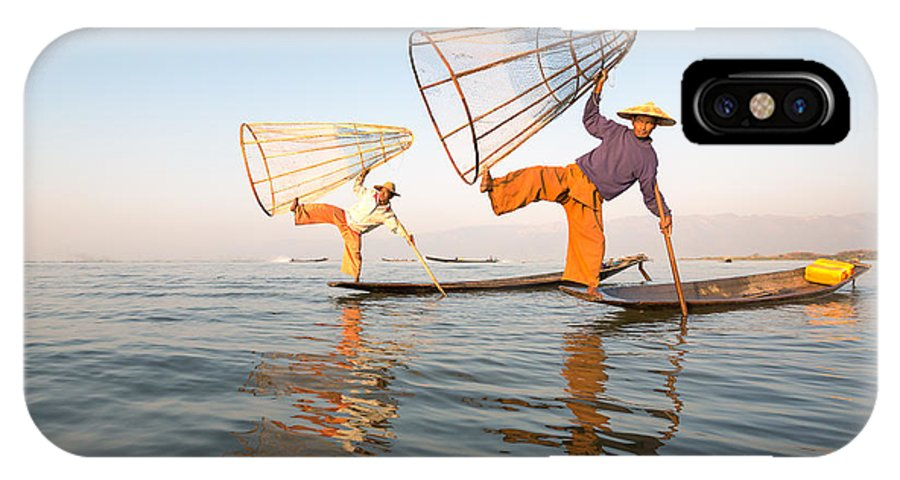 Fishermen IPhone X Case featuring the photograph Fishermen - Inle Lake - Myanmar by Matteo Colombo