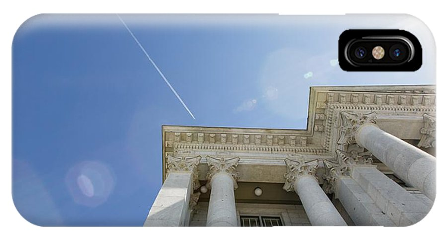 Planes IPhone X Case featuring the photograph Fly Over Capital by Mitch Johanson