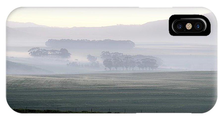 Landscape; Morning; Fog; Farm Land; Trees; Swartland; South Africa; Sunrise; Sky; Light; Background; Decorative; Mountains; Blue; IPhone X Case featuring the photograph Foggy Sunrise... by Werner Lehmann