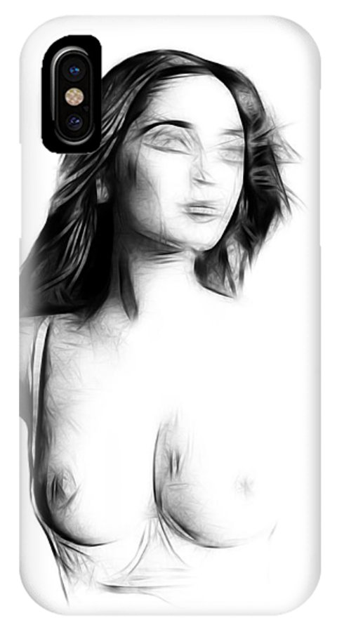 Girl Female Woman Nude Naked Expressionism Face Portrait Expressionism Painting Erotic Black White IPhone X Case featuring the painting Girl by Steve K