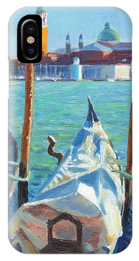 Venice IPhone X Case featuring the painting Gondolas And San Giorgio Maggiore Venice by Dai Wynn
