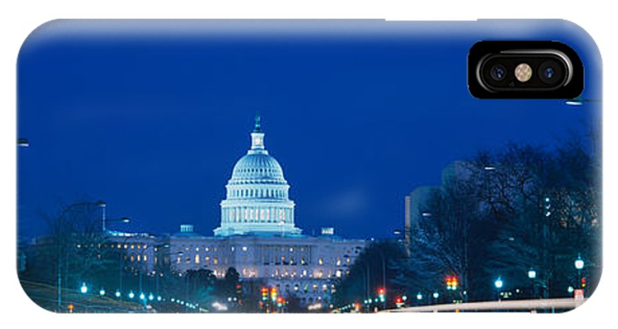 Photography IPhone X Case featuring the photograph Government Building Lit Up At Dusk by Panoramic Images