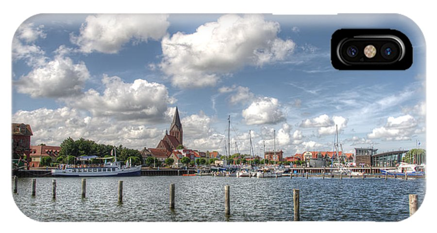 Ostsee IPhone X Case featuring the pyrography Hafen Barth by Steffen Gierok