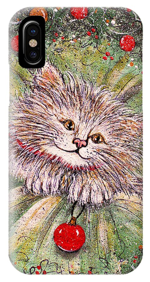 Cat IPhone X Case featuring the painting Happy Holidays by Natalie Holland