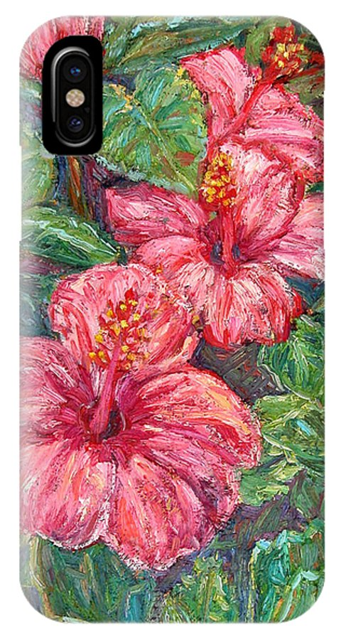 Hibiscus IPhone X / XS Case featuring the painting Hibiscus by Kendall Kessler
