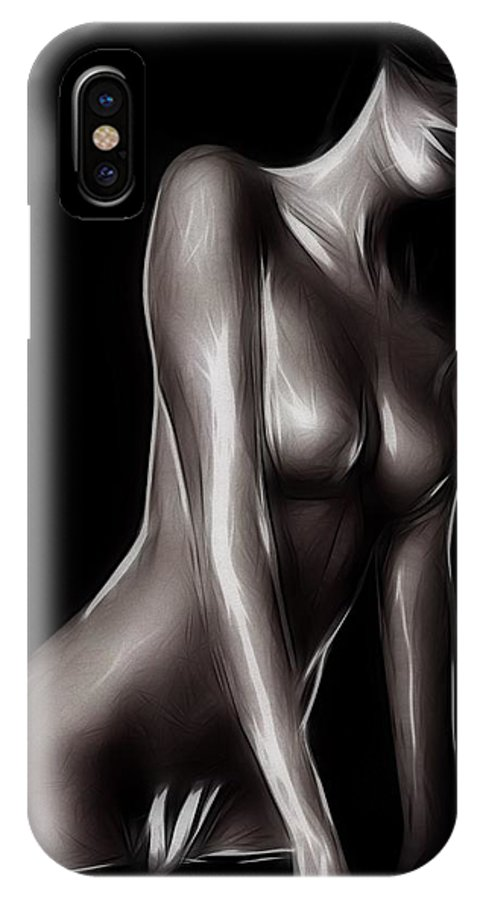 Woman Female Nude Naked Girl Boobs Sexy Erotic Beauty Expressionism Black White Sensual Hide Seek Painting IPhone X Case featuring the painting Hide And Seek by Steve K
