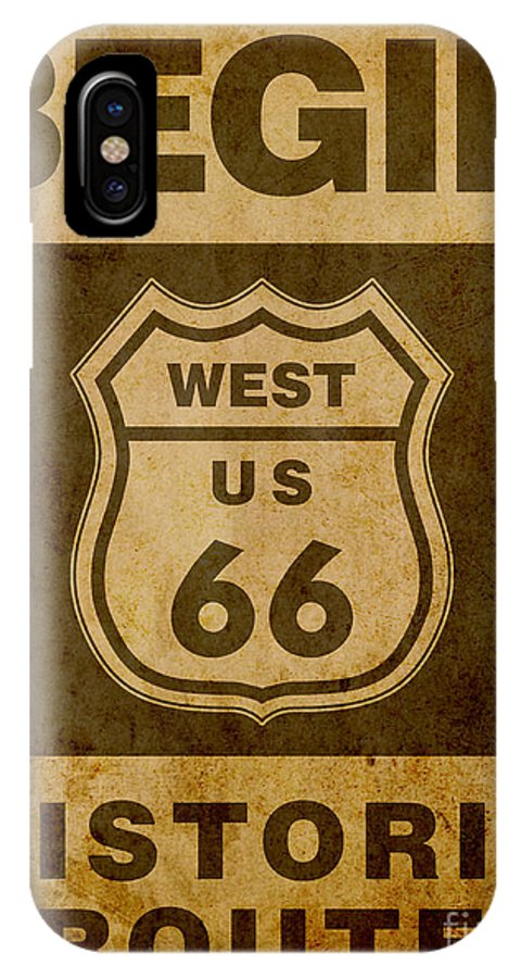 America IPhone X Case featuring the digital art Historical Route 66 Sign Poster by Indian Summer