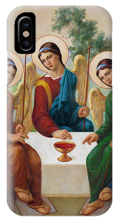 Communion IPhone X Case featuring the painting Holy Trinity - Sanctae Trinitatis by Svitozar Nenyuk