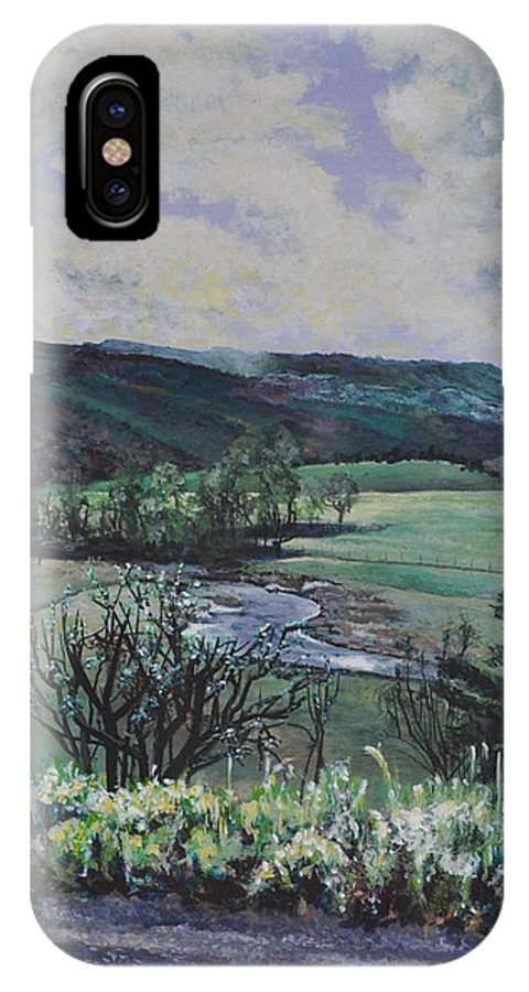 Valley IPhone X Case featuring the painting How Green Is My Valley by Tioga Dan Sloane