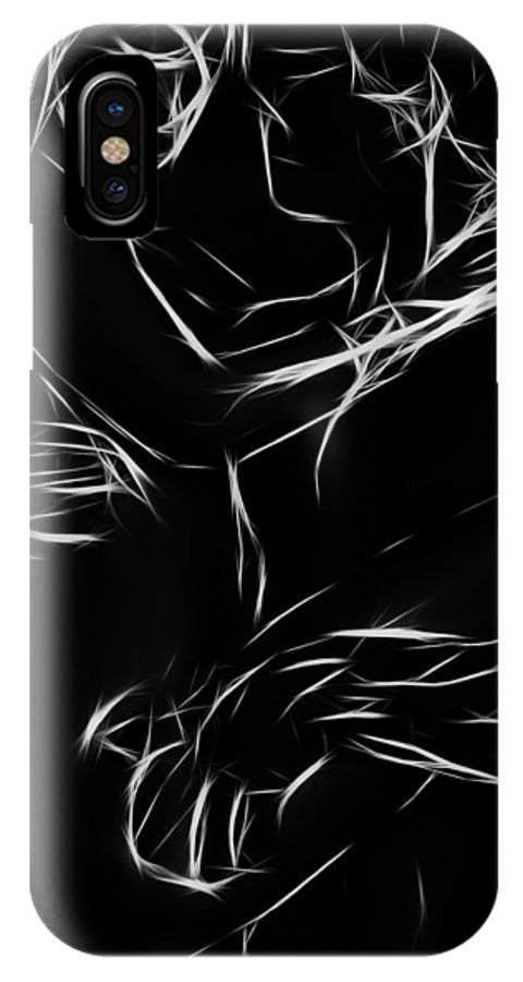 Couple Lover Lovers Arms Woman Man Female Male Nude Naked Black White Abstract Expressionism Erotic IPhone X Case featuring the painting In Your Arms by Steve K