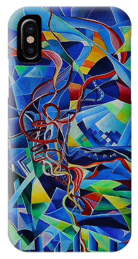 Johann Sebastian Bach Toccata And Fugue D Minor Acrylics Abstract Music Pens Gems IPhone X Case featuring the painting Inside The Cathedral by Wolfgang Schweizer