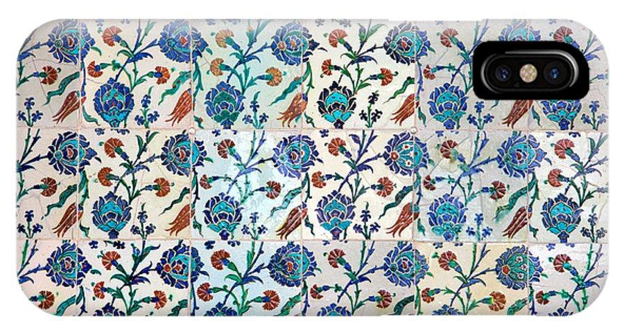 Tile IPhone X Case featuring the photograph Iznik Ceramics With Floral Design by Artur Bogacki