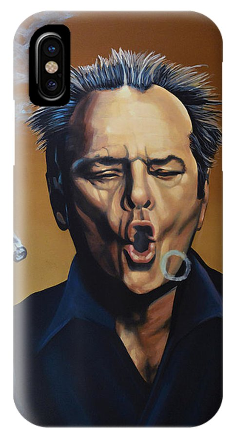 Jack Nicholson IPhone X Case featuring the painting Jack Nicholson Painting by Paul Meijering